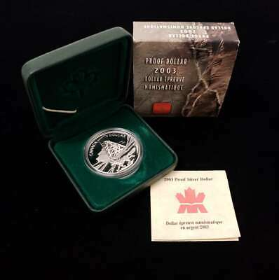 2003 Canada $1 Dollar Elizabeth II Silver Proof Discovery At Cobalt Coin VF-DC01