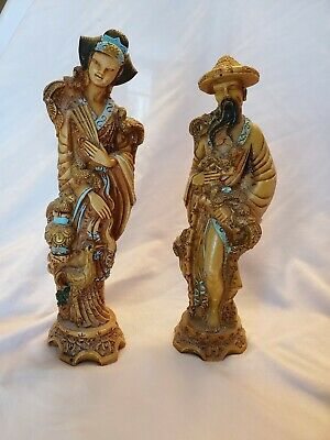 Vintage Set Asian Man & Woman Hand Carved Resin Figurine Statues