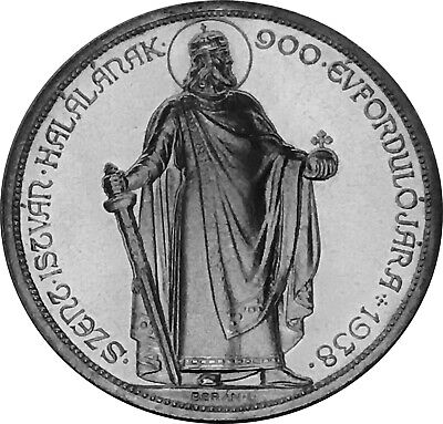 1938 5 PENGO PROOF UP. 900th Anniversary-Death of St. Stephan.