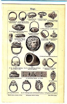 1894 RING ILLUSTRATION ANCIENT JEWELRY EGYPTIAN ANTIQUE GOLD Lithograph print