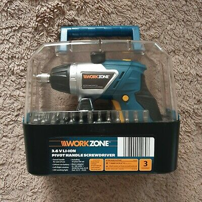 Workzone cordless SCREWDRIVER Li-ION driver NEW +55pc bit set gift present