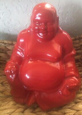 Red Big Buddah Statue Ceramic 7.5 Inches Tall Made In China
