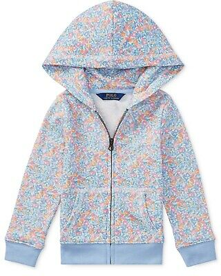NWT Ralph Lauren Polo Big Girls Floral Print Cotton French Terry Hoodie Full Zip