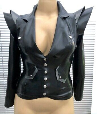 Latex Rubber Gummi 14s To A small 16s Blazer Jacket Gold Fetish Couture