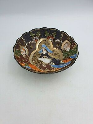 Antique Japanese Satsuma Moriage Porcelain Bowl Hand Painted Immortals Gild Brow