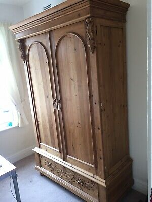 Large Solid Pine Double Antique Victorian Style Wardrobe Armoire 2 Door 1 Drawer