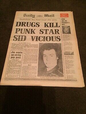 Very Rare Sid Vicious Dead Newspaper ( Daily Mail ) 3/2/1979 Punk,sex Pistols.
