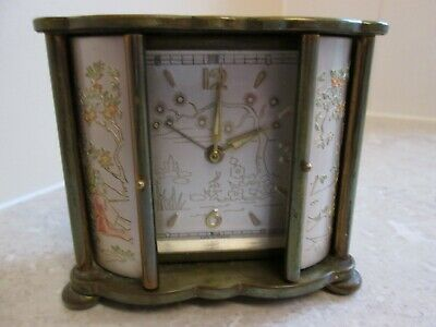 VINTAGE FRENCH WIND UP ALARM CLOCK - JAZ -  CHINESE CHARACTERS - CIRCA 1950's