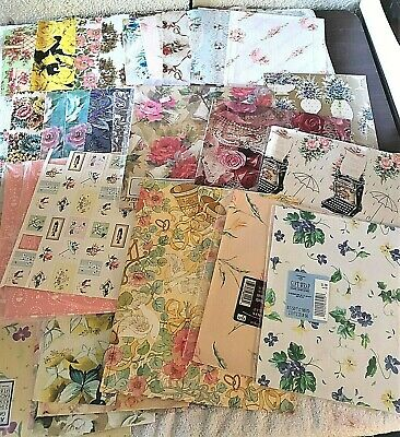 Large Lot Vtg Floral Flower Gift Wrap Wrapping Paper 3.5 Lbs Craft Scrapbook