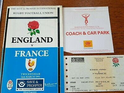 1991-England V France-Grand Slam Win-Five Nations-International Rugby Programme