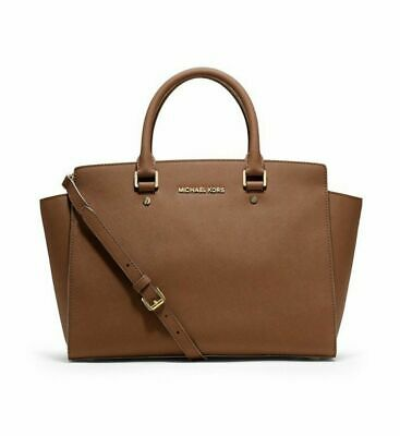 Genuine Tan Brown Saffiano Leather Michael Kors Top Handle Tote Bag