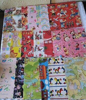 Huge Lot Vtg Gift Wrap Wrapping Paper Craft Scrapbook Girls Boys Baby 4.5 Lbs