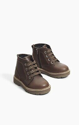 NWT Zara Baby Boys Girls 100% Leather Lace Boots Brown Size 9.5 EU 26