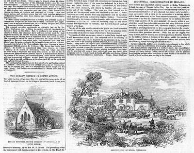 1855 Antique Print - IRELAND South Africa English Church Riversdale Mulla  (217)