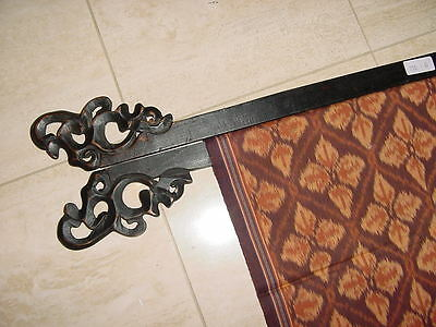 2 Handcarved Textile Runner Obi Wood Display Hanger Rod Racks Finials Decor 19""