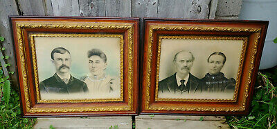 Pair Antique Victorian Layered Wood, Gold Gesso 16x20  Picture Frames, Portraits