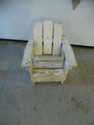 Antique Child Size Early White Painted  Adirondack Chair