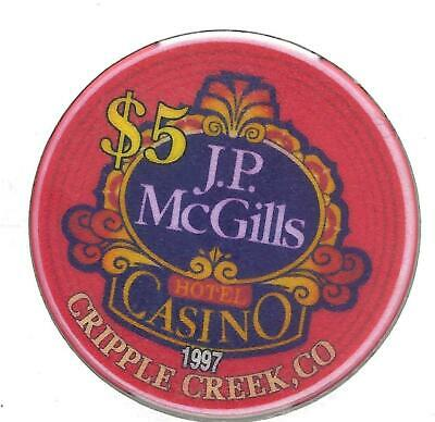 J. P. McGILLS HOTEL CASINO***1997*********CRIPPLE CREEK, CO***********$5.00 CHIP