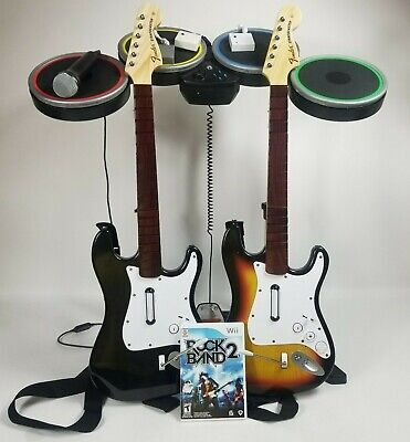 Wii Rock Band 2 Bundle Lot Game Microphone 3 Dongles 2 Wireless Guitars Drums