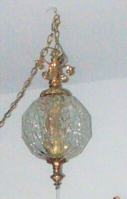Ornate Glass Globe  SWAG LAMP w/ 11 1/2 foot chain  Retro Mid Century Modern,