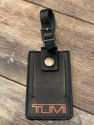 Tumi Black Red Leather Luggage Suitcase Briefcase Bag ID Name Tag Cover (P3113)