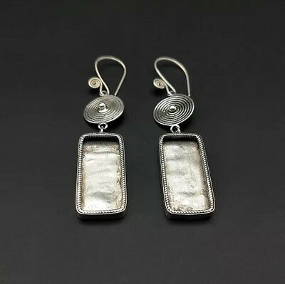 Chinese exotic tribal retro handmade miao silver DIY embed earring 1pair