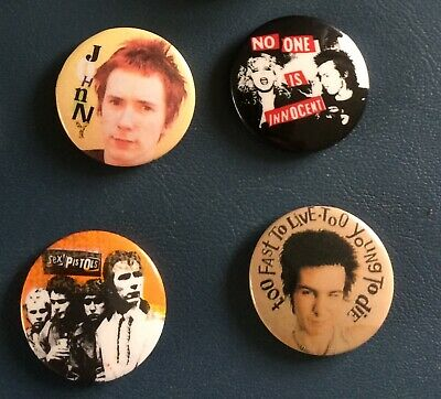 (4) Vintage SEX PISTOLS Buttons Pins Johnny Rotten Sid Vicious