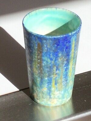 BRETBY - MADE IN ENGLAND - ART DECO 1930's BLUE, AQUA SMALL VASE / BEAKER