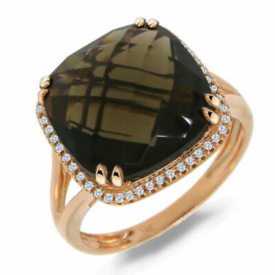 8.74 TCW 14K Rose Gold Cushion Smoky Quartz Gemstone Diamond Cocktail Ring