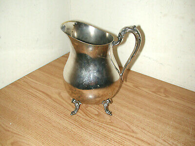 Vintage F.b. Rogers Silver Plated Footed Water Pitcher With Ice Guard