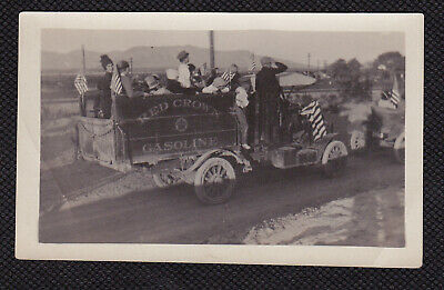 Antique Vintage Photo RED CROWN GASOLINE Parade Truck American Flags Nice Detail