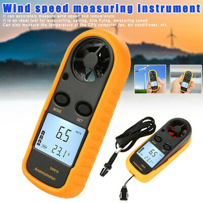 Mini LCD Wind Speed Gauge Air Velocity Flow Meter Digital Anemometer Thermometer