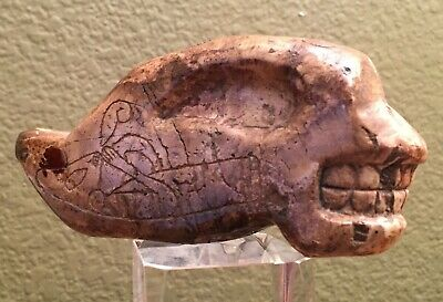 "Rare Pre-Columbian  Stone ""Alien"" Reptiloid Head, Mexico,(Ojuelos) 5-7 th.years"