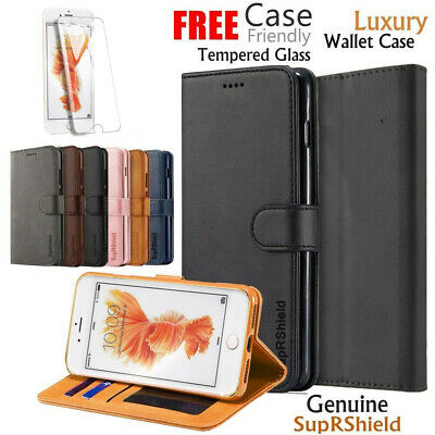 Apple iPhone 6 6S 7 8 Plus XS XR Wallet Leather Flip Case Cover +Tempered Glass