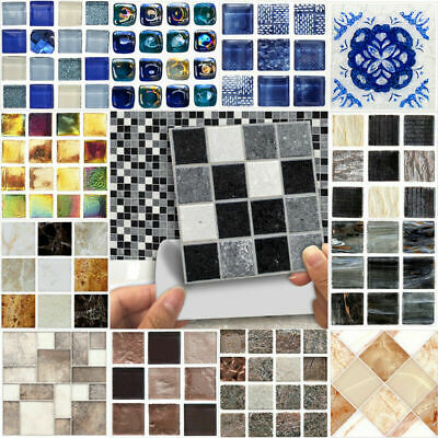 90pcs Mosaic Self-adhesive Bathroom Kitchen Wall Stair Floor Tile Sticker 10cm