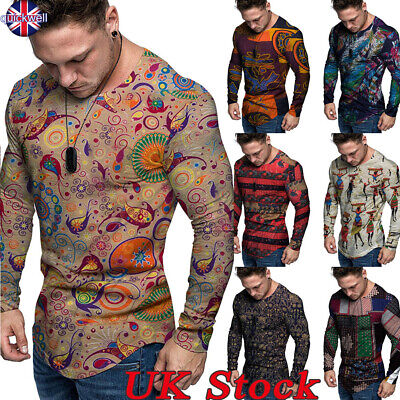UK Men Long Sleeve Ethnic Style T Shirt Crew Neck Slim Fit Muscle Tops Blouse