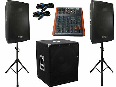 "Ibiza Cube 1512 2.1 System Set Pa Anlage Stativ 15"" Box USB Musiker Mischpult"