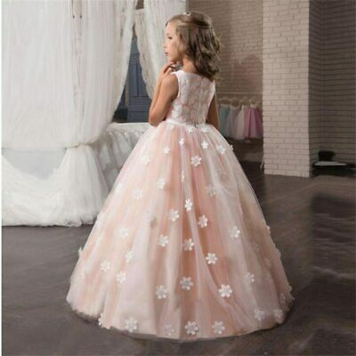 Fancy Flower Long Prom Gowns Teenagers Dresses for Girl Children Party Clothing