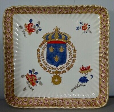 Grand Royal Coat of Arms of France armorial plate 19th faience - Wappen Heraldik