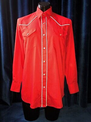 Vintage 70's Costume Rockabilly Red + White Piping Cotton Western L/S Shirt L-XL