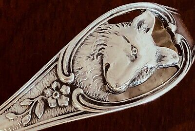 - Watson Sterling Silver Curved Handle Baby Spoon: Dog's Head No Monogram