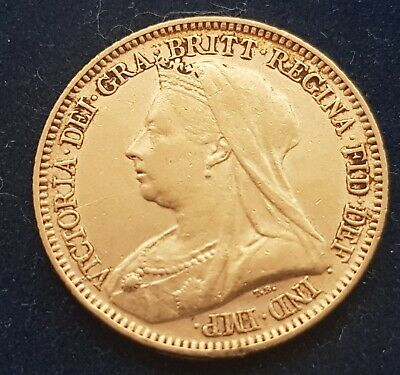 Queen Victoria Old Head 1894 Gold Half Sovereign London in coin cover