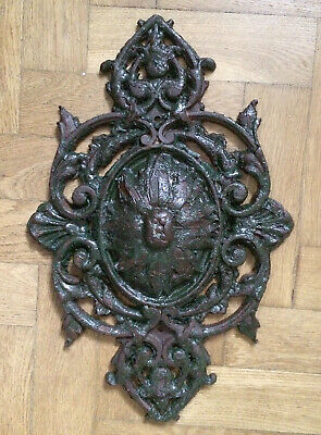 Antique Old French Decorative Cast Iron Pattress Anchor Plate Wall Tie Plaque