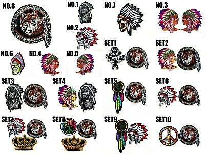 """C61 INDIAN CHIEF DEATH SKULL 5.75/"""" x 4/"""" iron on patch Biker Native American"""