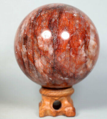 491g RED FIRE QUARTZ Hematoid Crystal Polished Palm Stone Ball Healing Stand