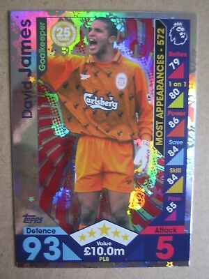 Match Attax Extra 2016/7 PL Legends card - David James of Liverpool #PL8