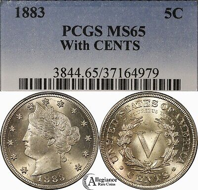 "1883 5c Liberty Head ""V"" Nickel PCGS MS65 WITH CENTS rare old type coin money"