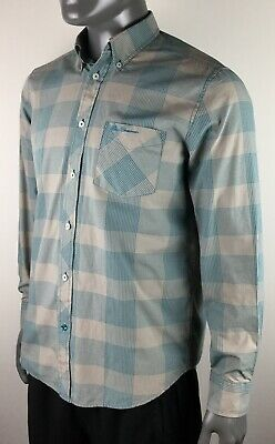 Ben Sherman Button Down Shirt Men's Medium Gray/Blue Check Pattern