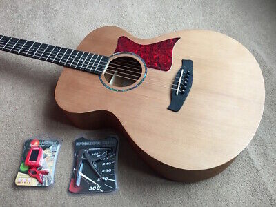 Mahogany Folk / Orchestral Size 6 String Acoustic Guitar Capo, Tuner Rrp £210.00