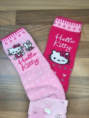 Brand New Hello Kitty 2 Pairs Of Pink Socks Older Girls Size Uk 4-6.5 Euro 37-40